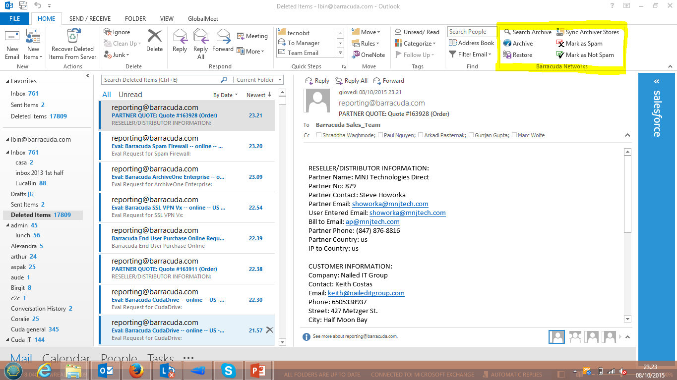 Easy Access via Outlook Familiar interface From inside