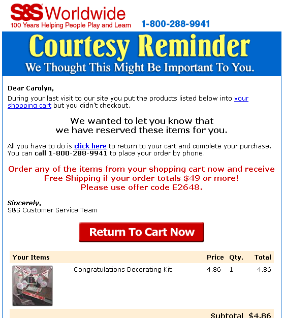 Abandoned Cart Mails Rock 25% conversion on cart abandoners.