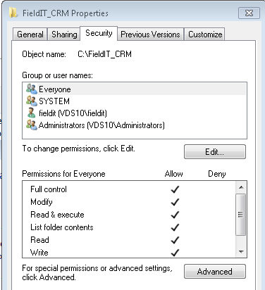 6.7) Take note of the network share name displayed in the File Sharing screen, In the example below is \\VDS10\FieldIT_CRM. 6.