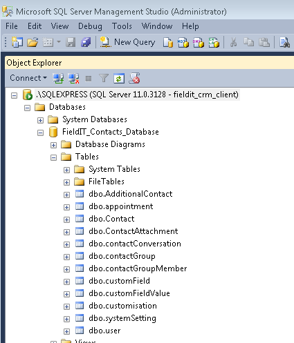 9.17) You should now be able to expand out and view tables in database FieldIT_Contacts_Database. If you are unable to view the tables you should check sections (9.13), (9.14) and (9.