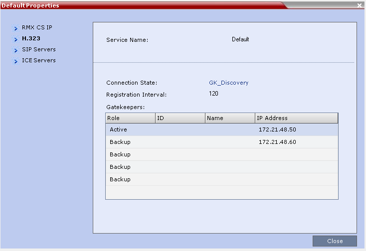 Integrate Polycom RMX Systems with UNIFY OpenScape 3 Click H.323. The H.323 settings display.