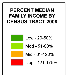 City of Toledo Consolidated Plan FY2010-2015 Exhibit II-17 Percent of Medium Family Income by Census
