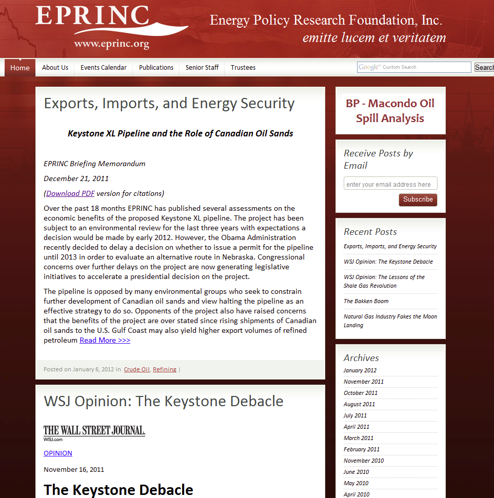 EPRINC stands for Energy Policy Research Foundation, Inc. Non-profit research group that does economic and policy analysis on the petroleum industry Founded in 1944 in New York.