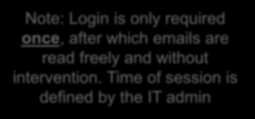 Note: Login is only required once, after which emails are read