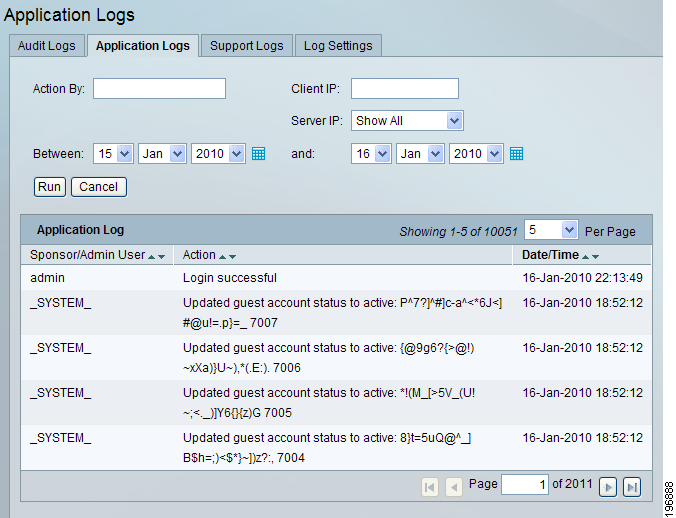 Chapter 15 System Logging Application Logs Application Logs shows the application log containing application debugs.