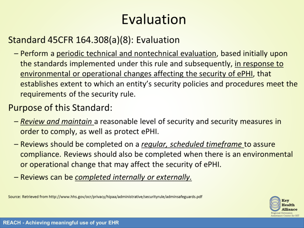 The last required standard is evaluation.