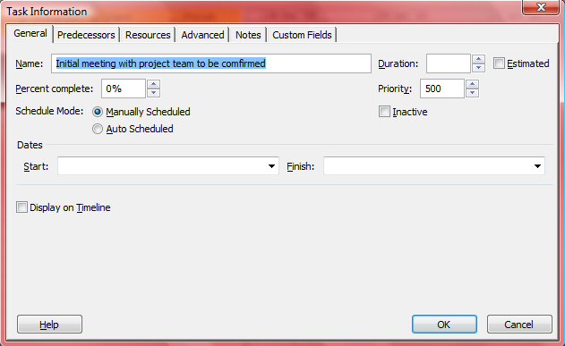 7. It is possible to use In-Cell Editing but you may prefer to double click the task and make the changes