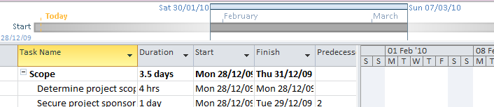 Using Task Views Working with the Timeline On the View tab there is an option to show or hide the Project Timeline The Timeline is a new feature in Project 2010 which allows you to easily create a
