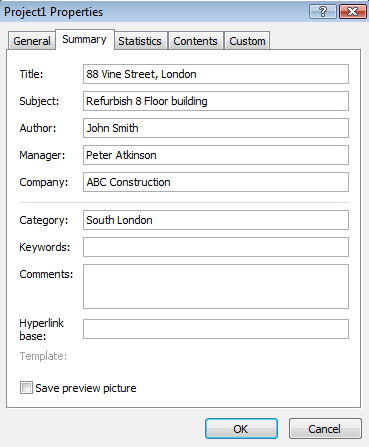 Formatting and sharing information Project Properties You can enter descriptive information about your project in the Properties dialog box.