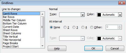 Other formats - To add other formatting lines, choose Format ribbon Format group Gridlines and choose a line type.