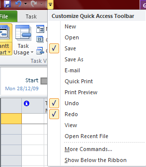 The Quick Access Toolbar: The Quick Access Toolbar (QAT) is a customizable toolbar that can display either above or below the Ribbon.