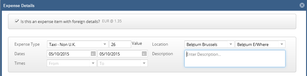 6.04 Select your Expense Type from the drop down menu. 6.05 Enter the value of the item claimed. In this example I have used 26.