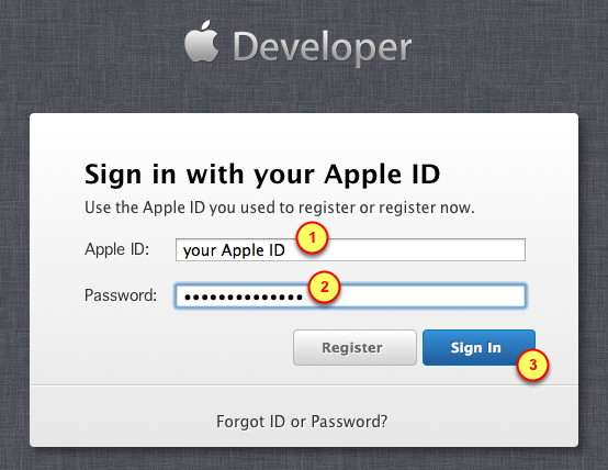 2. Log in to the ios Dev Center 1. Click on the Log in button 3. Specify your Apple ID credentials 1.