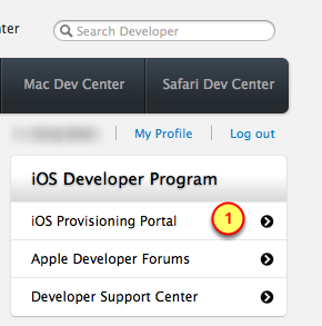 3. Click on the Sign In button 4. Enter the ios Provisioning Portal 1.