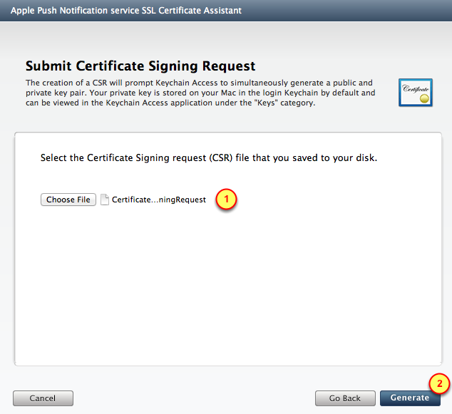 3. Folder for Development items 4. The Certificate Request file 4.