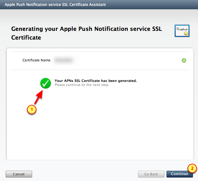 6. Push Notification certificate created 1.