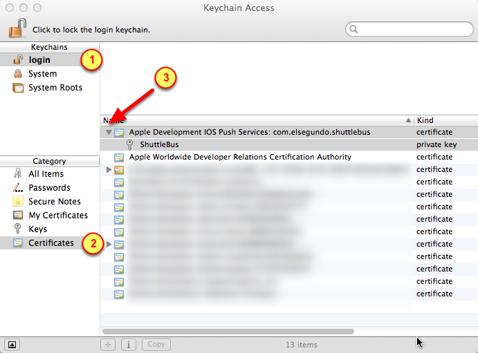 2. Select the Push Notification certificates for exporting 1. Select the Login keychain 2.