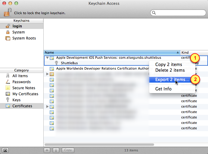 3. Select certificates for exporting 1.
