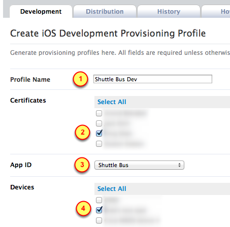 5. Details for the new provisioning profile 1. Specify the name of the App and the Dev or Prod term. Example: Shuttle Bus Dev or Shuttle Bus Prod (spaces are allowed) 2.