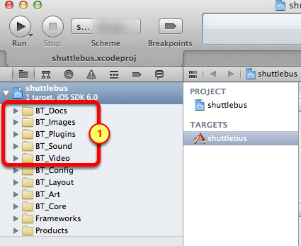 5. Verify new groups are in the Xcode project 1.