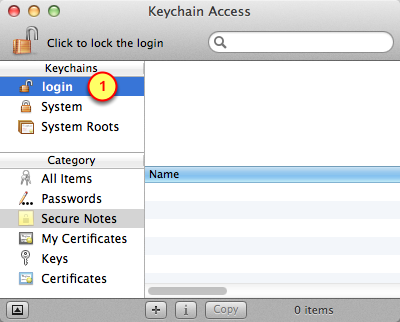 2. Open the Keychain Access application on the Mac Find and launch the Keychain Access application 1. Go into the Applications folder 2.