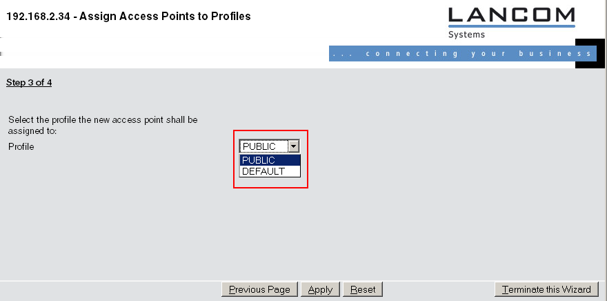 1. Open the configuration of the LANCOM WLAN controller in WEBconfig. Click on Setup Wizards and select the wizard Assign access points to profiles. 2. Click on the link to start the wizard.