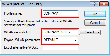 Logical WLAN networks for guest access accounts 2.