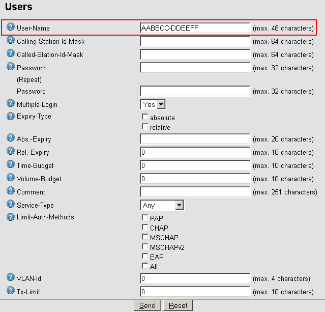 In LANconfig enter the approved MAC addresses into the RADIUS database in the configuration section RADIUS servers on the General tab.