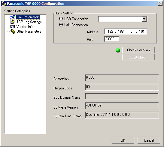 7. After entering the IP address and TCP port of PBX, click Check Location to verify the connection to the PBX.