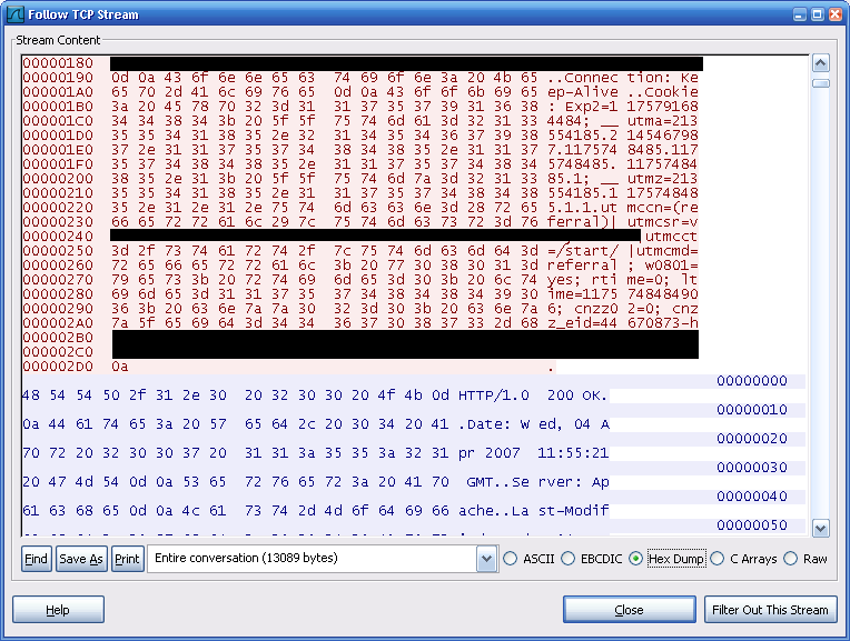 Figure 14. Sample Exploit =Once the packets are captured, filters can be placed in the captured PCAP files to see only the required packet traces.