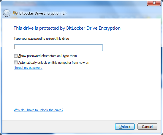Unlocking your BitLocker enabled USB Insert USB device into PC and type your password when