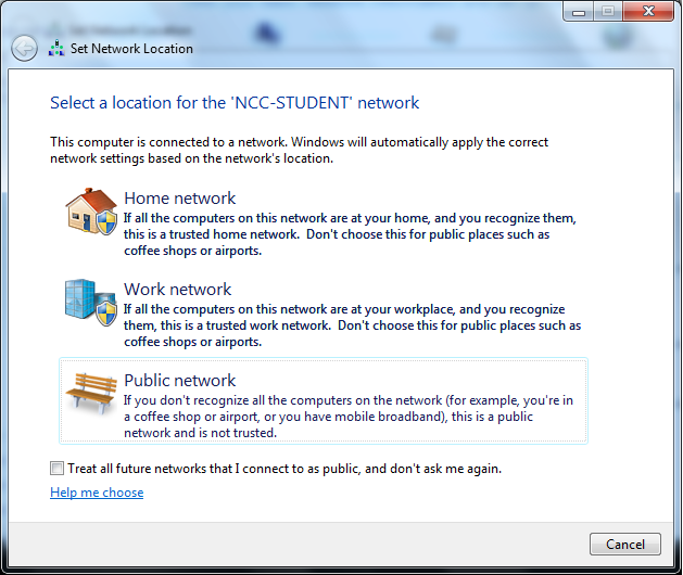 Leave the Logon Domain field blank. Step 15: If the Set Network Location windows appears, choose Public Network, as seen in the screenshot below.