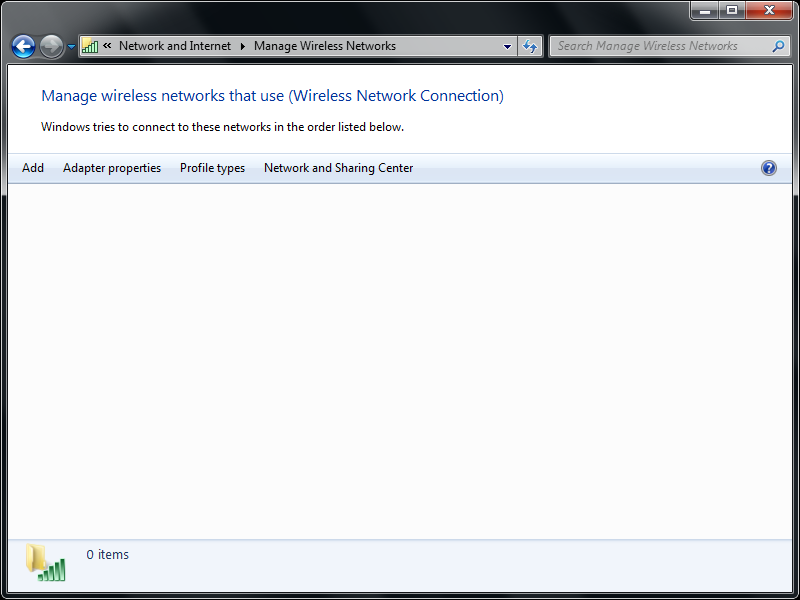 Step 3: Choose the option to Manage Wireless Networks on the Left hand side of the window.