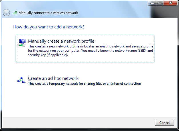 Step 5: Click the Manually create a network profile button.