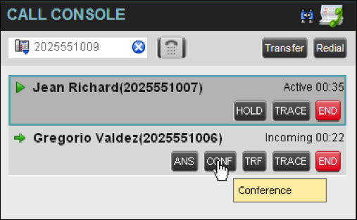 5.11 Manage Conference Calls You manage conferences in the Call Console. You use the: n Current calls area to establish a conference and add participants to it.