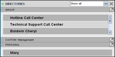 To display a directory below the Call Console: 1. In the Directories panel, select Show all. Figure 46 Directories Panel - Selecting Directory 2.