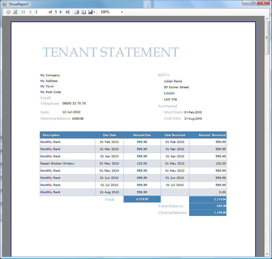 The statement can be saved in Word format or Adobe PDF format. Email Reports Screen The Email Reports screen allows you to easily email invoices and statements to your tenants.