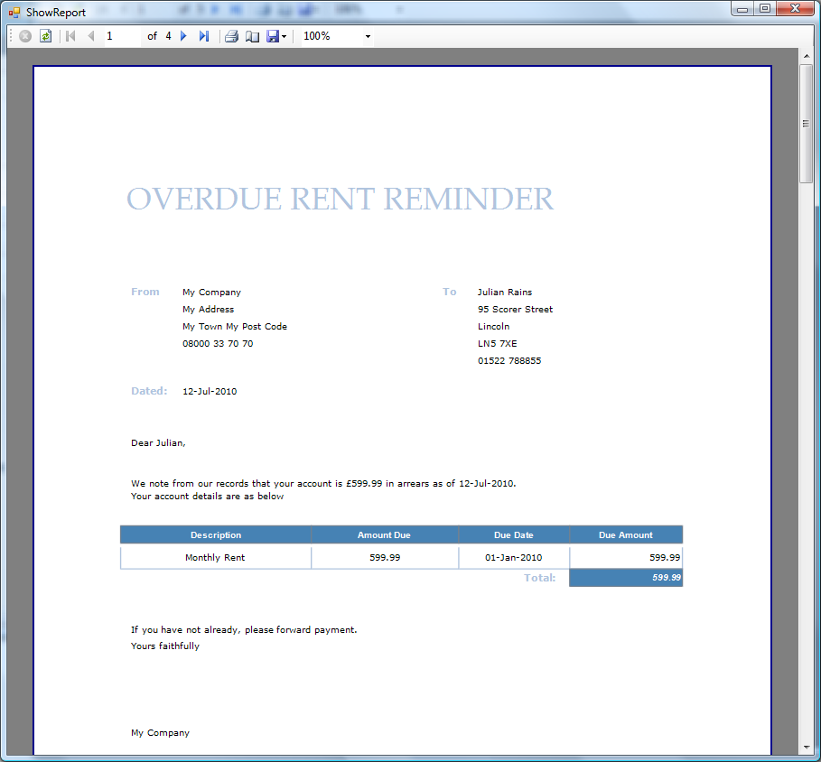 The invoice can be saved in Word format or Adobe PDF format. Generate Overdue Rent Reminders Property Manager allows you to automatically generate overdue rent reminders.
