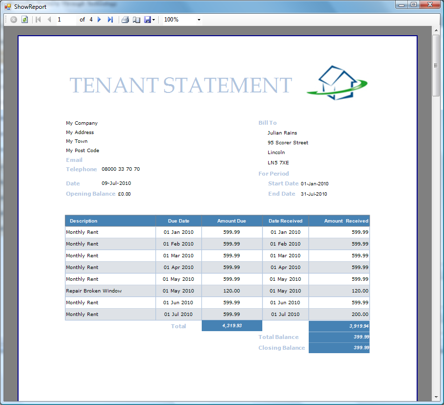 Example Tenant Statement www.