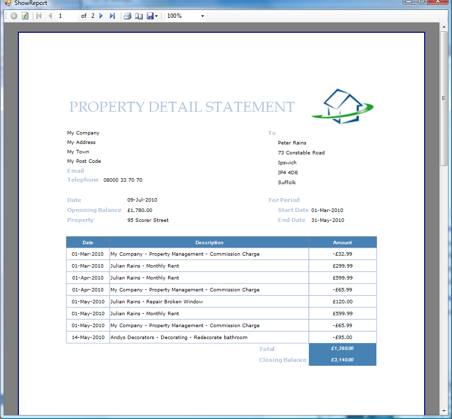 Example Landlord Statement