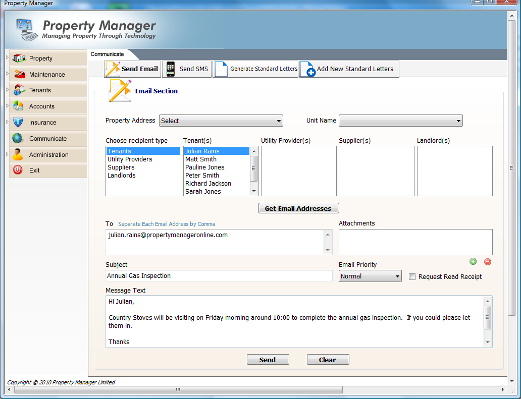 9. Communicate Menu Property Manager allows you to automatically email or send instant SMS message to your tenant, landlords and suppliers.