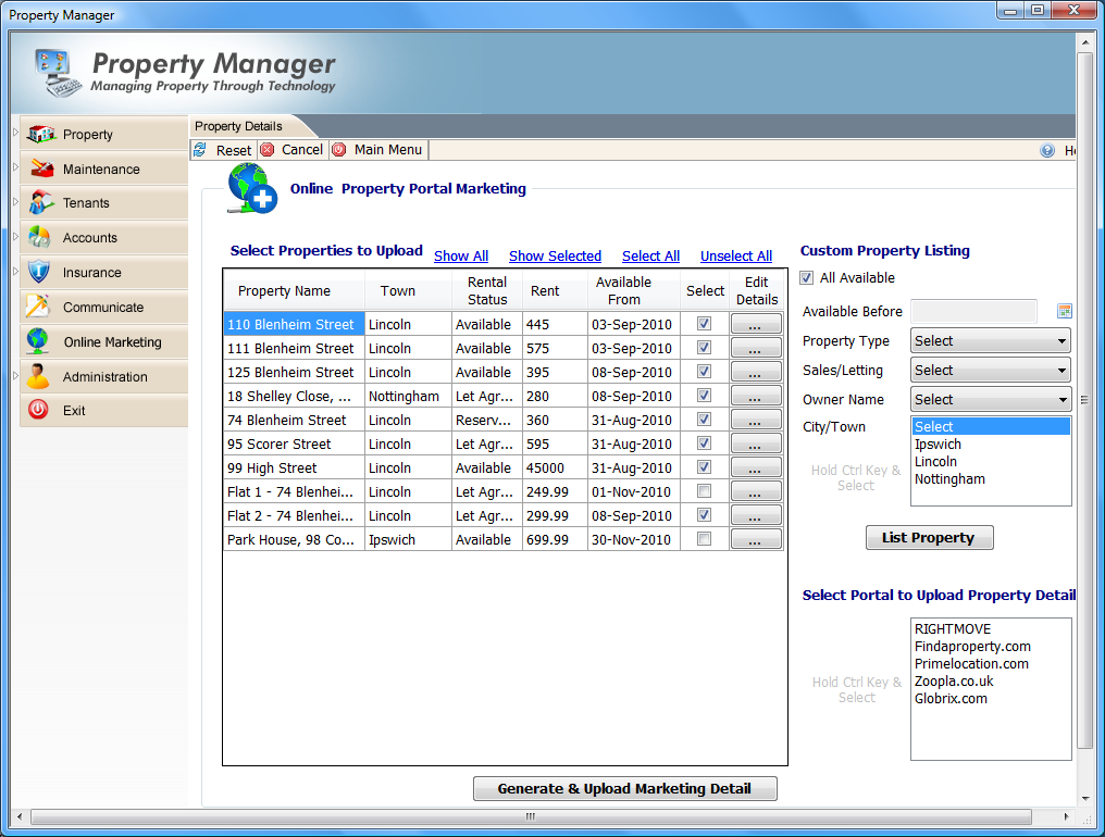 10. Online Marketing Property Manager allows you to automatically upload your property rental and sales details to the leading UK property portals such as RightMove, Findaproperty.com and Zoopla.co.uk.