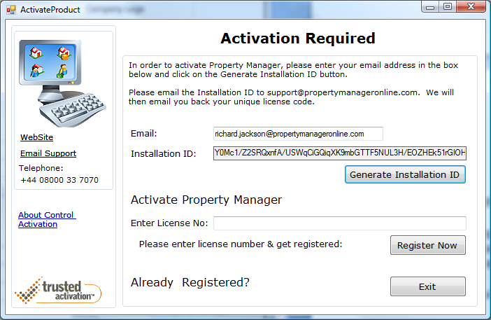 "11. Activating Property Manager In order to activate Property Manager, please go to the ""My Company Details"" screen and select the ""Activate Property Manager"" button."