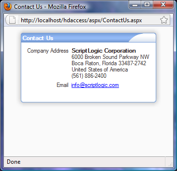 15 Contact Us Selecting the Contact Us option from the Help menu will open the Contact Us window as shown
