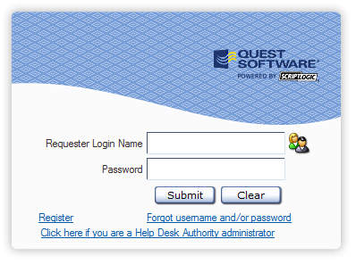 6 Logging into HDAccess When you initially open HDAccess in your web browser, the Requester Login window is displayed: 1. Enter your user name in the Requester Logon Name field. 2.