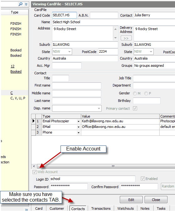 9. Enable a user for a web account 10.