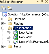2 In Visual Studio 2010, from the Solution Explorer, right-click Nop.Web project. A popup menu is displayed. 3 Select Set as StartUp Project. 4 Press F5 to compile and run the site.