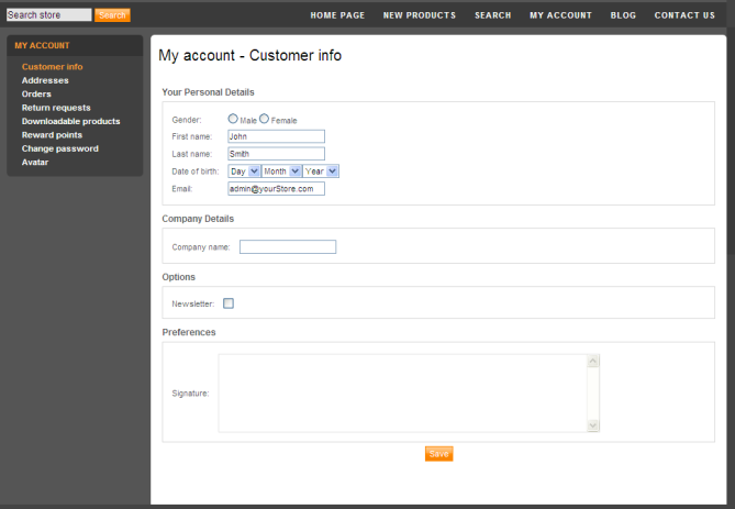 Customer Info This page enables you to define customer information, such as company details and more.