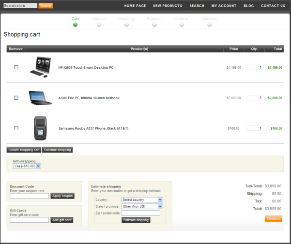 3 Enter the number of items to add and click Add to cart. The shopping cart is displayed with the items displayed.