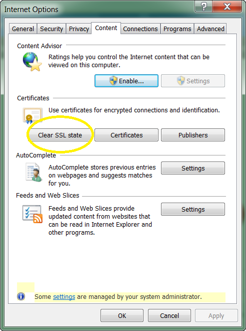 Clear SSL State Open the Internet Options